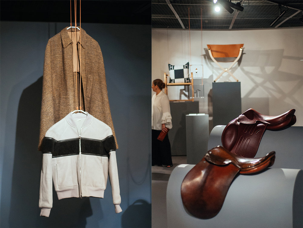 Left from above: wool cape owned by Émile Hermès; 1940. Below: Men's jacket in Étreviere calfskin finishing.  Right from above: 'Hermès Cavale' bovine skin saddle. Below: 1910 Moroccan bovine skin saddle.