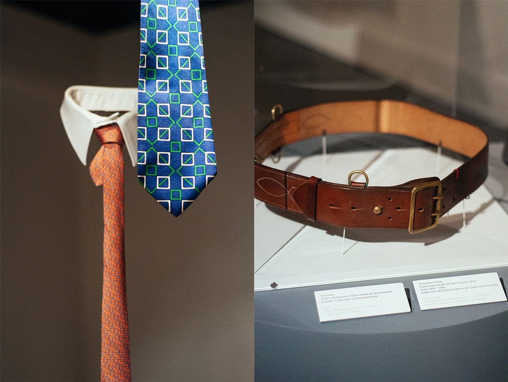 Left: '394 EA' silk tie; 1972. Seven cm tie in silk twill from the contemporary collection.   Right: Military belt made out of natural bovine leather; 1914.