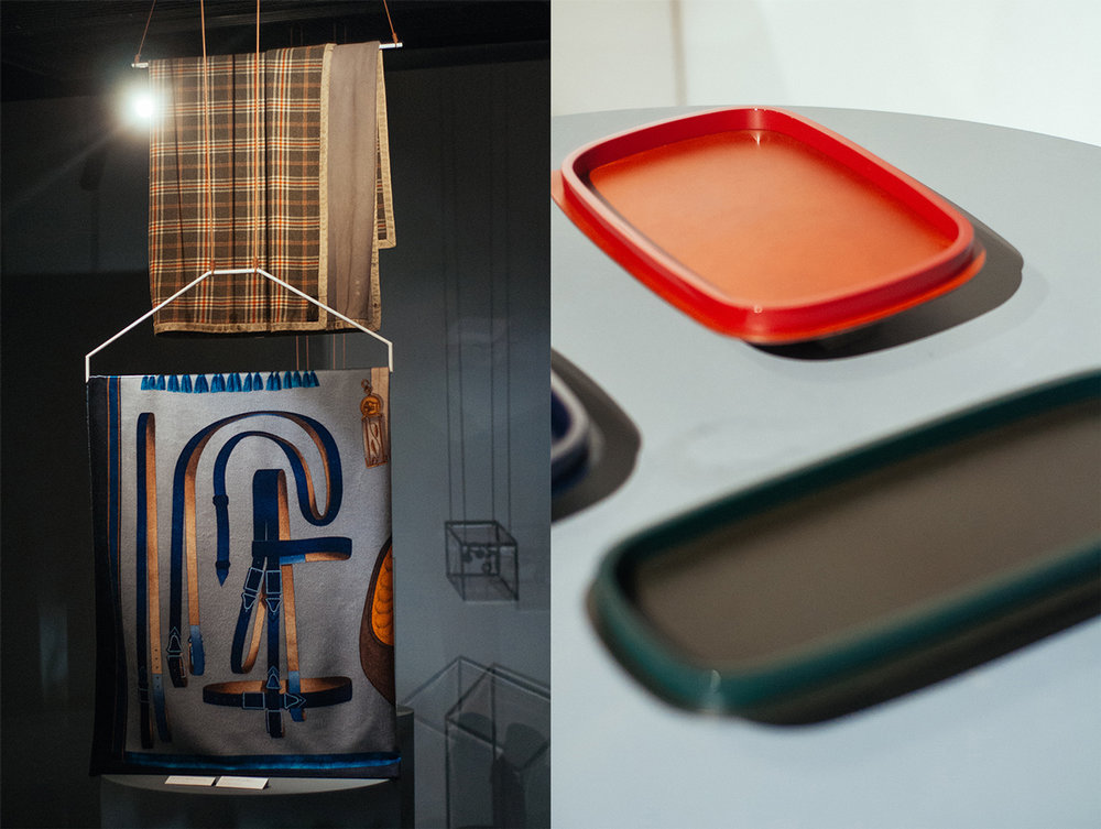 Left from above: Scottish blanket in wool and lambskin; 1920. 'Album de Colportage2' cashmere and silk blanket; contemporary collection.  Right: 'Tie Set' tart plate in porcelain; contemporary collection.