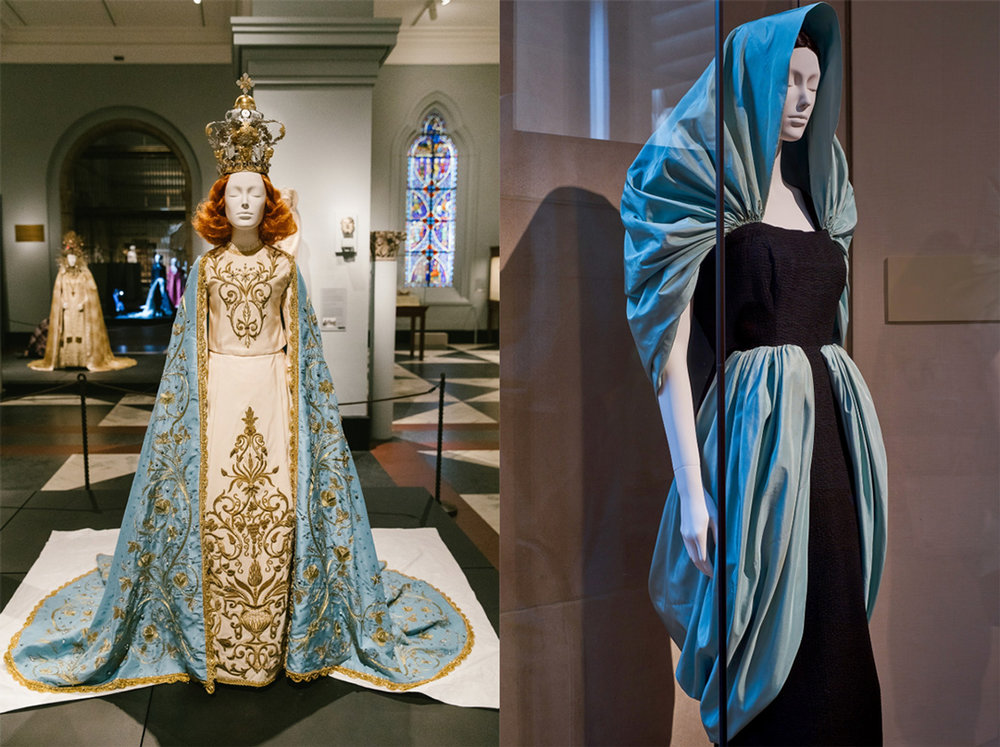 Left: Blue silk jacquard and gold metal passementerie, embroidered Swarovski crystals and gold metal thread and beads; ivory silk faille, embroidered polychrome crystals, gold paillettes, and metal studs; Riccardo Tisci; 2015. // Right: Black silk cloqué and light blue silk taffeta; Cristóbal Balenciaga; 1949.