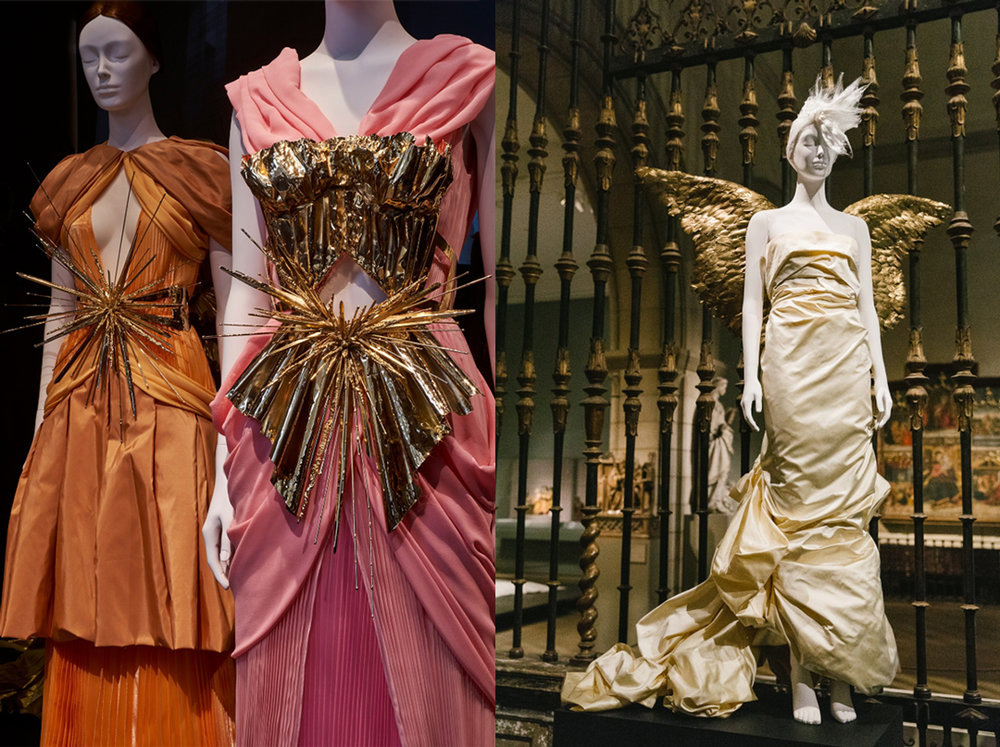 Left:Gold metallic silk satin trimmed with beige feathers, embroidered gold metal paillettes, wire, beads, and gold metallic ribbon; Rodarte; 2011. // Right:Ivory silk taffeta and gold-painted feathers; Mugler, 1984.