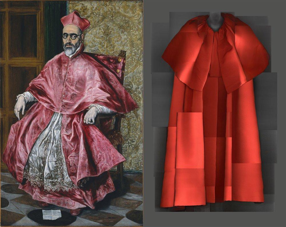 "Left: ""Cardinal Fernando Niño de Guevara""; El Greco; 1541. // Right: taffeta evening coat; Cristóbal Balenciaga; 1954."