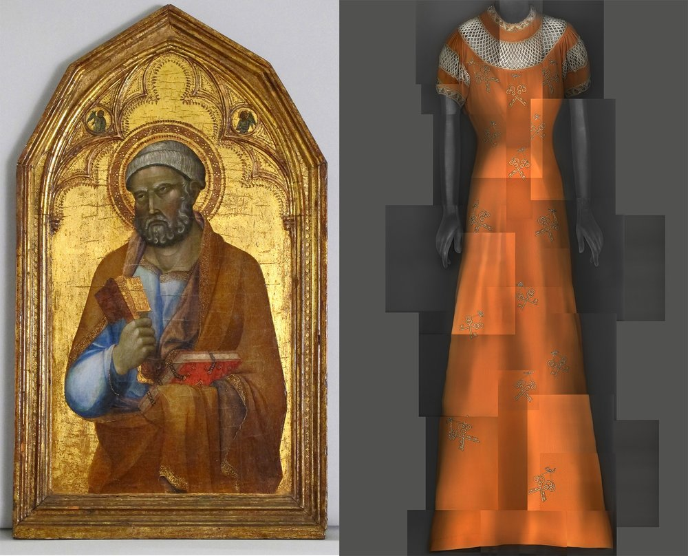 Left: mid-14th century tempera on wood, gold plated Follower of Lippo Memmi,  Saint Peter. // Right: evening dress; Elsa Schiaparelli, 1939.