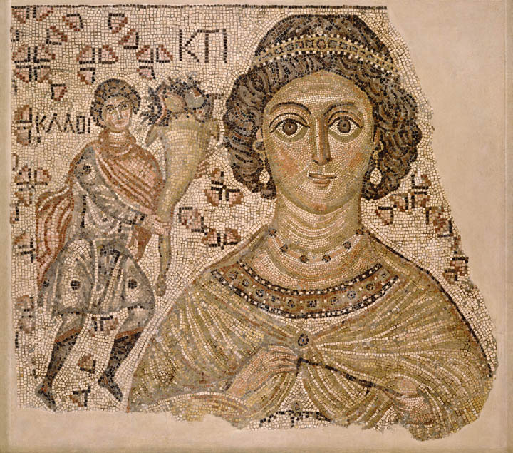 Fragment of a floor mosaic with a personification of Ktisis; 500–550. Byzantine. Marble and glass.