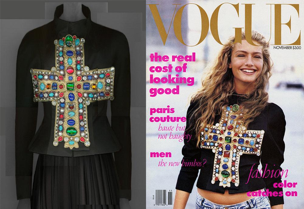 "Left: Christian Lacroix ""Gold-Gotha"" ensemble, autumn/winter 1988–89 haute couture. // Right: Anna Wintour's first American Vogue cover."
