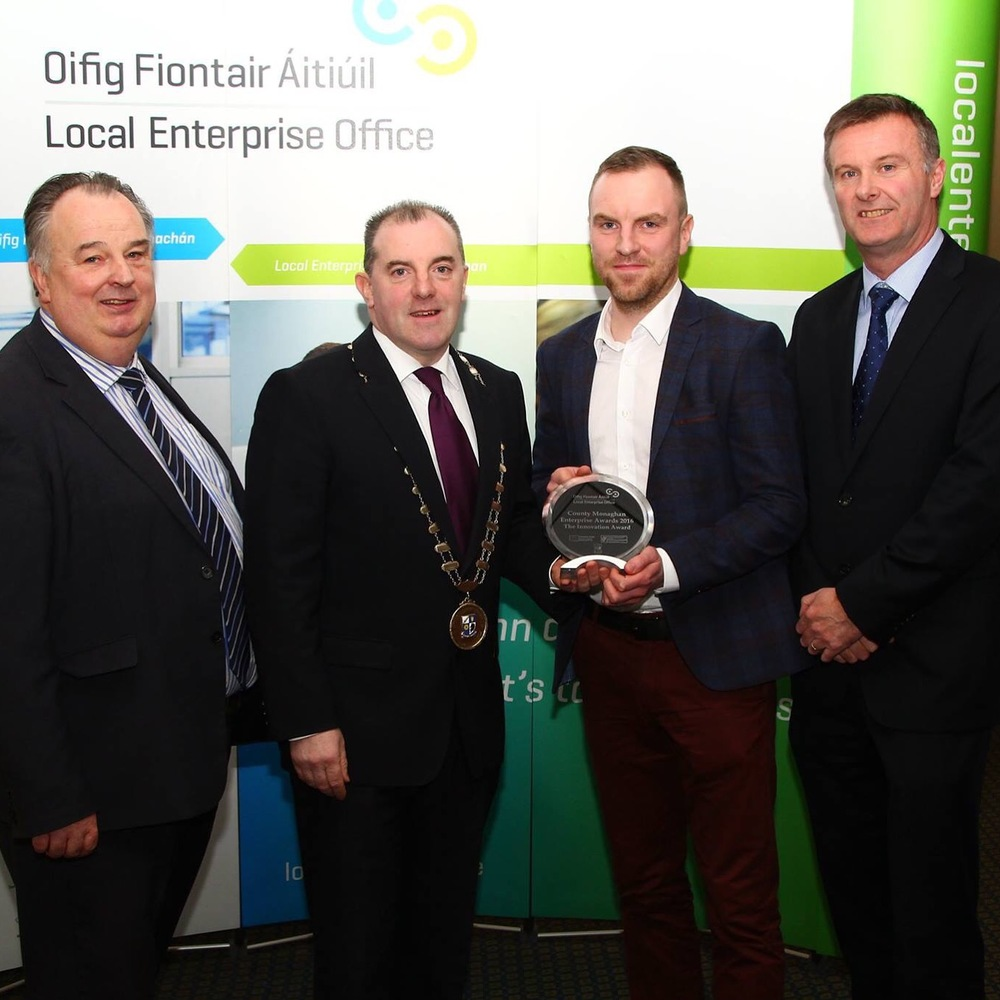 "Marc Kelly, MD of Sculp collecting the ""Innovation"" Award"