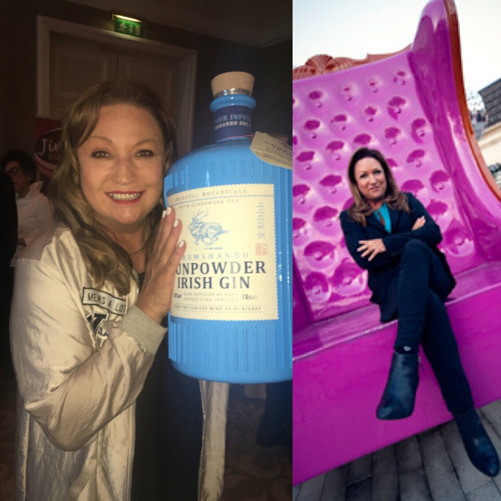 Norah Casey Photographed recently with our 3D Gin Bottle Prop made for PJ Rigney and an image from RTE filming at the Hillgrove Hotel Monaghan last year on our 12ft armchair.