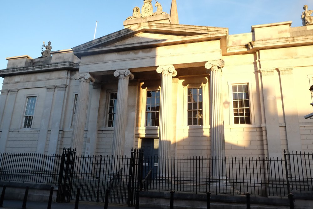 Bishop Street Courthouse - opened in 1789 and made from white sandstone found in Dungiven. Notice the security fence surrounding the building - scaled down from the darkest days, but still an ever-present feature of this kind of building throughout the country.