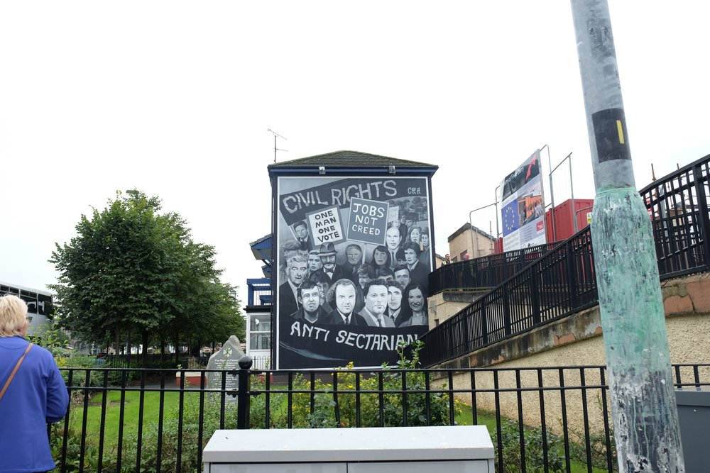 The Civil Rights Mural commemorates the beginning of the struggle for democracy in the Bogside.