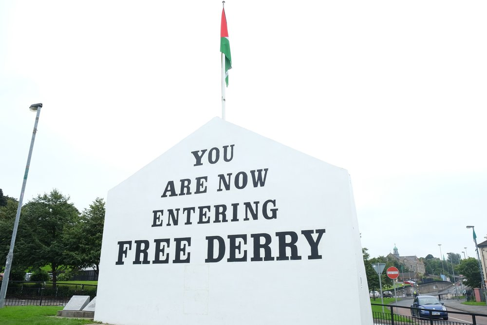 Free Derry Corner, originally painted in January 1969 to indicate the self-declared autonomous nationalist area of Derry that existed between 1969 and 1972.