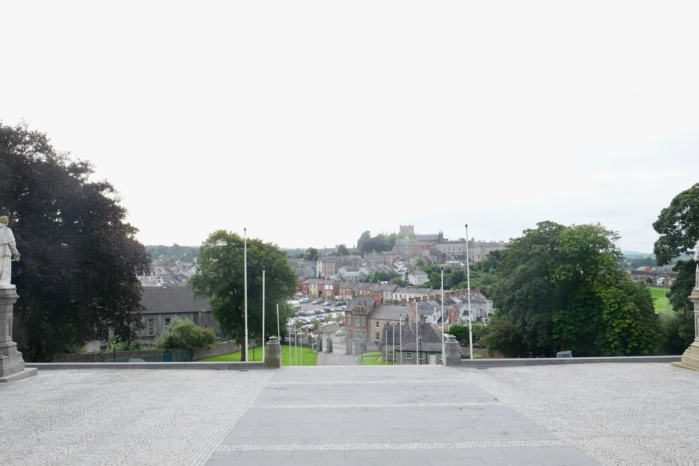 Looking down at the city of Armagh. In the far distance atop another hill, you can see the other Saint Patrick's Cathedral.