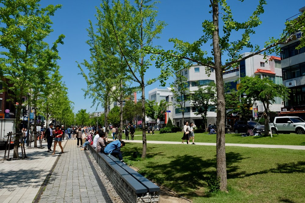 """This lovely leafy area is just a short walk away from Haemil Guesthouse - Yanghwa-ro-21-gil. This is the """"downtown"""" of Hongdae, with tons of shops and cute restaurants."""