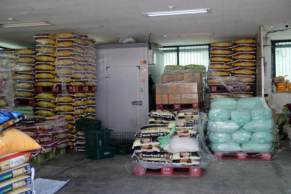 Jess's dream scenario: an entire warehouse full of Korean rice.
