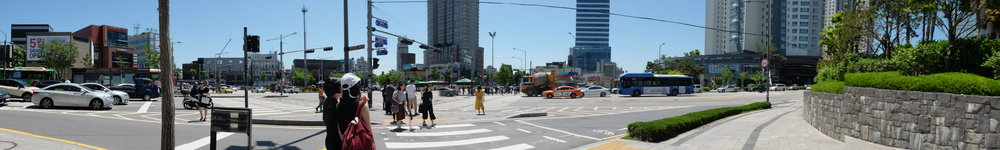 Five-way intersection near the Sinchon underground station.