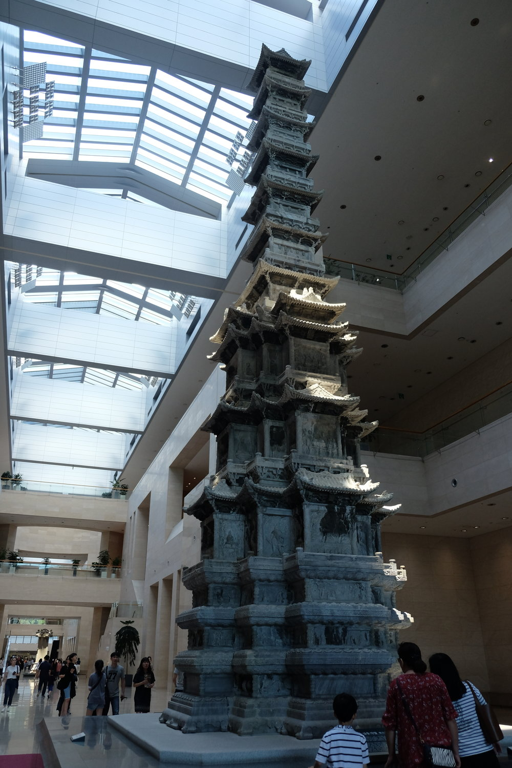 And the museum's pride and joy - this ten-story stone pagoda that sits in the main hall on the ground level. Originally taken apart by the Japanese in 1907, it was hauled overseas and then brought back some years later.