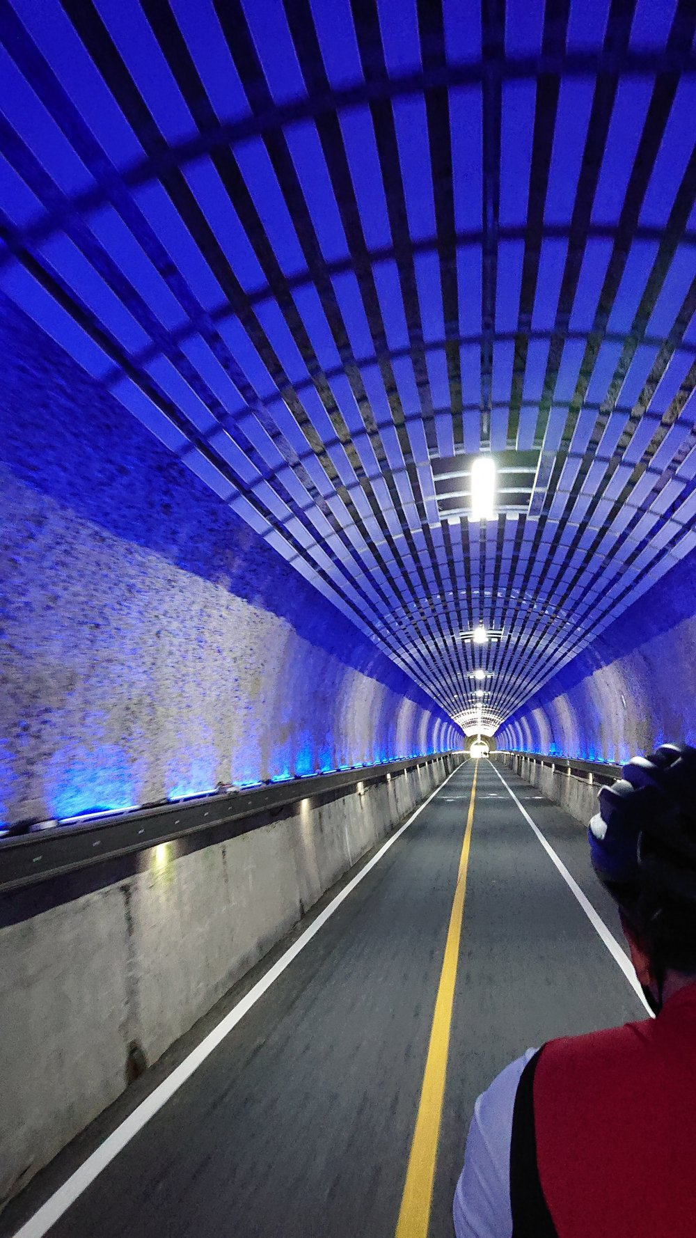 Another tunnel, this time featuring a light installation whose colours changed constantly as we rode through.