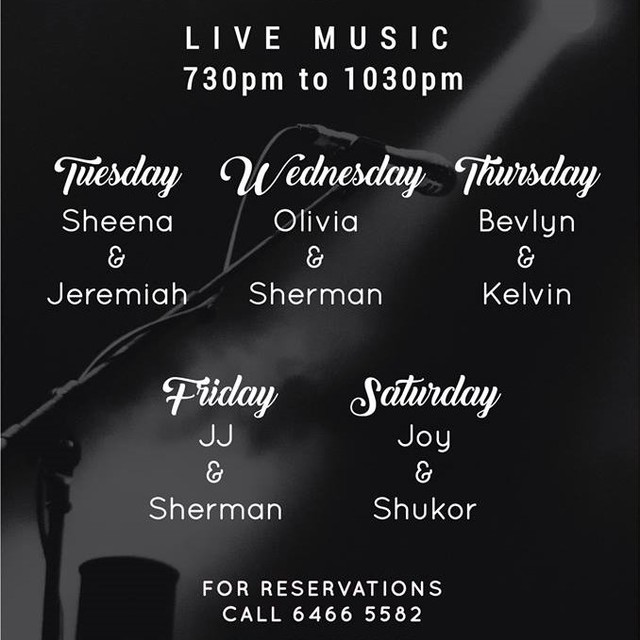 Your one stop place for live music, Spruce @ Bukit Timah, Old Fire Station has got you covered! With this amazing line up almost every day of the week, grab a nice cold beer and sing along to heartfelt tunes here!  #acousticbands #singapore #foodiessg #sprucesg #spruce #bukittimah #hungry #thirsty #beer #restaurantsg #sg2018 #may2018 #sgmusic #musos #liveband #livebands #livebandssg #music #latenights #chilltimes