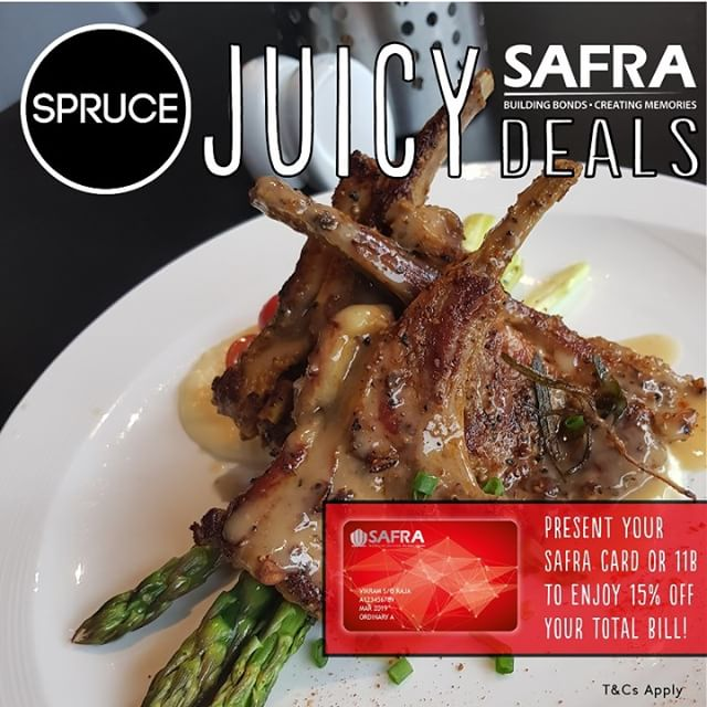 Calling all #SAFRA #SAFRAmembers and #Servicemen! #NSF #NSMAN Sink your teeth into something #juicy today. Get 15% off your total bill when you present your #SAFRAMembershipCard or your #11B! Call us now at 6466 5582 before seats run out! #SINGAPORE #upperbukittimah #bukittimah #oldfirestation #sg2018 #2018 #SPRUCESG #SPRUCE #FOODIES #hungry #thirsty #foodiessg #singaporefoodlisting #dealssg #shioksg