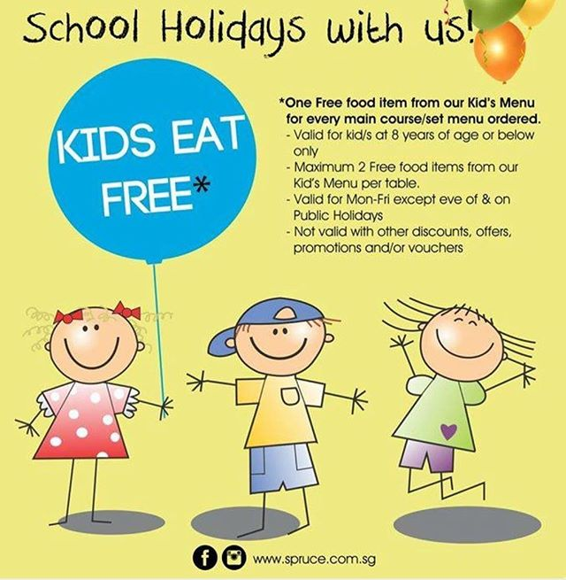School's out at last! Time to take the kids out for an awesome time to unwind from the stress of the mid year exams! What's even better is that Kids Eat Free here at Spruce!  Hurry now and make your bookings with us at 6466 5582  T&Cs Apply. Promo is not available on PHs eves, PHs, other special occasions and events. #schoolholiday #juneholiday #spruce #sprucesg #sg #singapore #singaporejune2018 #hungry #thirsty #foodies #foodiessg