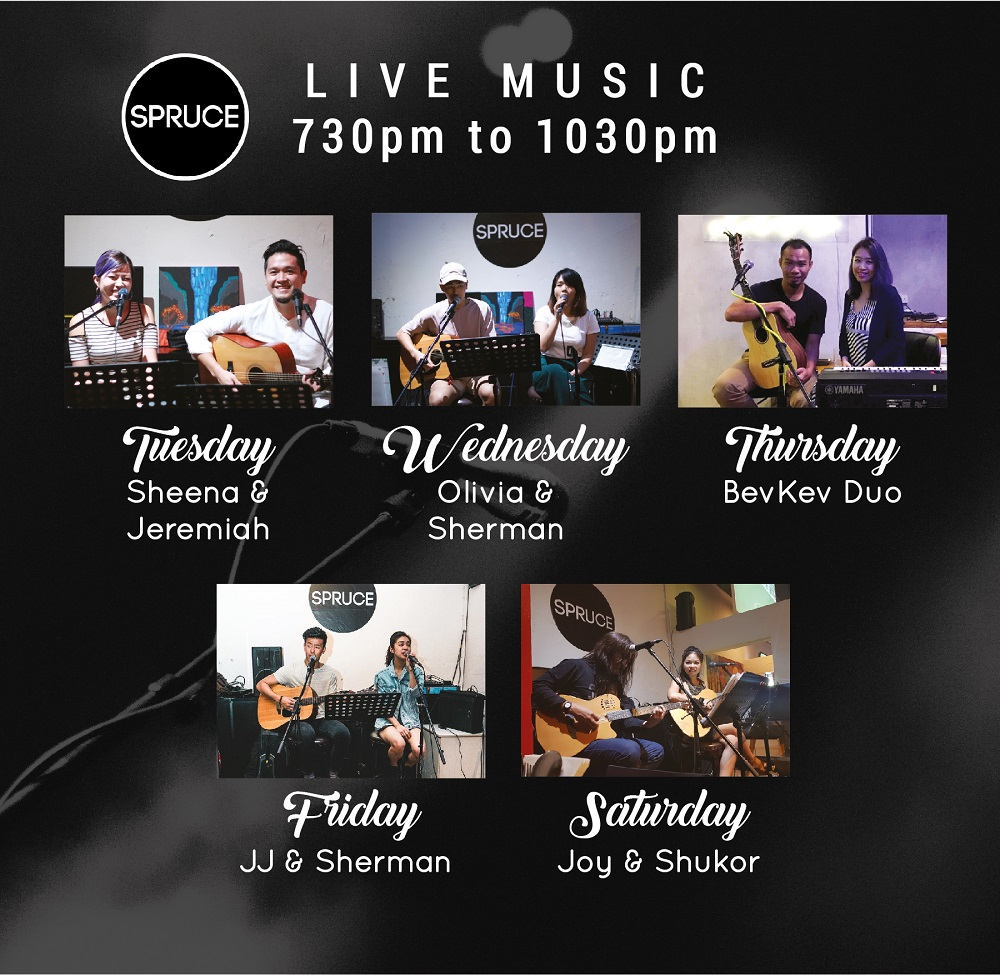 Unplugged @ The Firestation - Tuesdays to Saturdays, 7.30pm to 10.30pmTuesdays - Sheena & JeremiahWednesdays - Olivia & ShermanThursdays - BevKev DuoFridays - JJ & ShermanSaturdays - Joy & Shukor