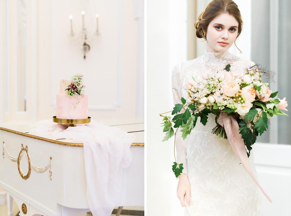 elegant wedding cake and floral