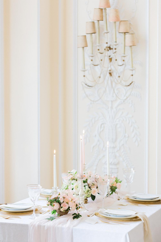 elegant wedding tablescape at palacio estoril