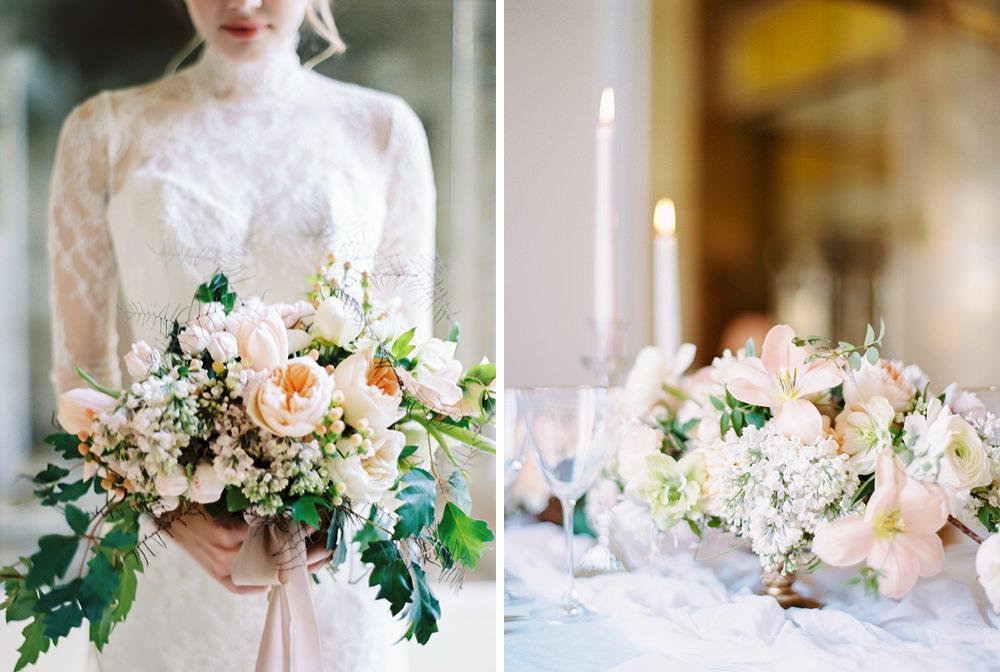 elegant wedding floral design at palacio estoril