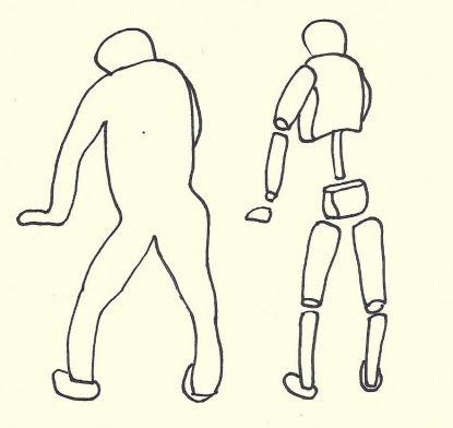 Mike fleshing out a manikin sketch