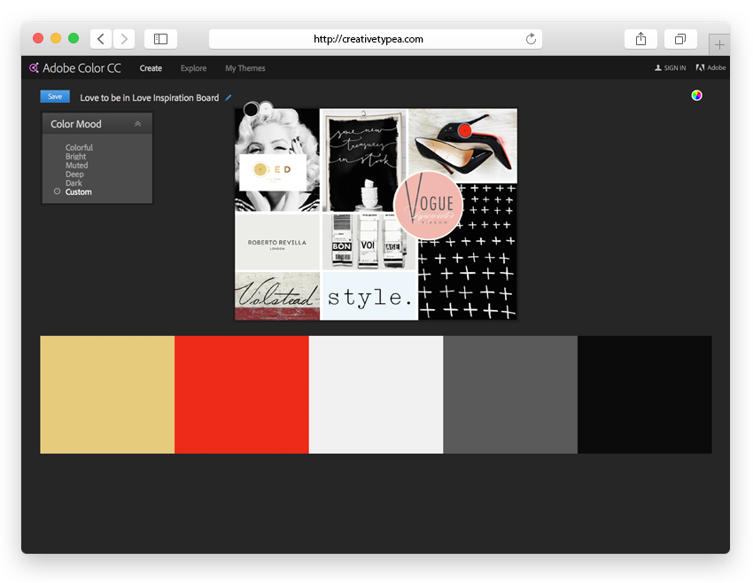 Creating Your Colour Palette in Adobe Kruler | Create a Mood Board from Creative Type A