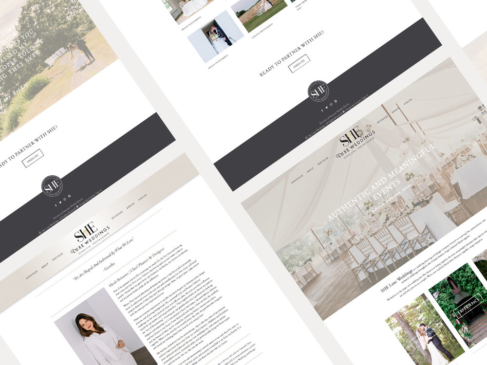 SHE Luxe Wed Squarespace Website Design