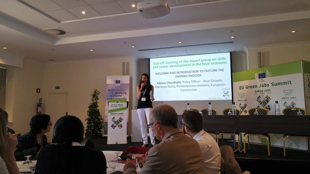Alessia Clocchiatti, Policy Officer on Blue Growth and Maritime Policy with the European Commission opening the meeting