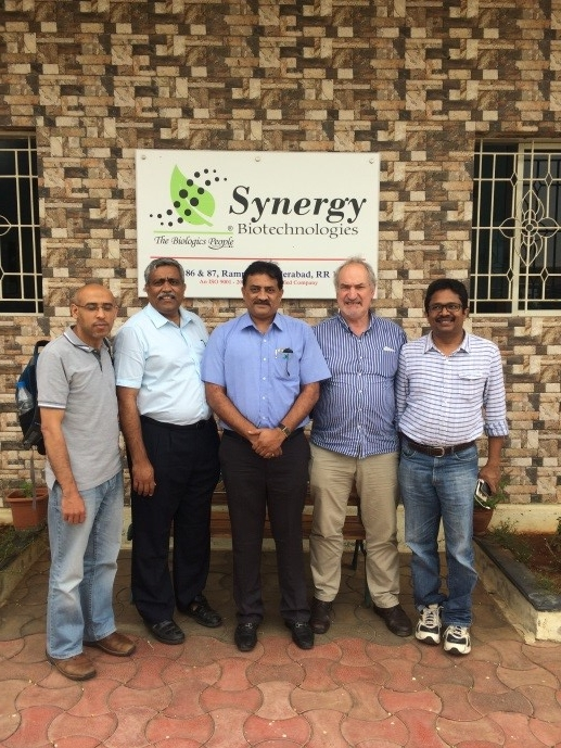 Prof Kenton Morgan, Dr Toms Josef and Dr Mahmoud Eltholth visited probiotics producing company Synergy Biotechnologies. They met Dr NS Allada, Mr NK Lathker and Mr GV Babu Rao to discuss different aspects of the project and potential collaborations.