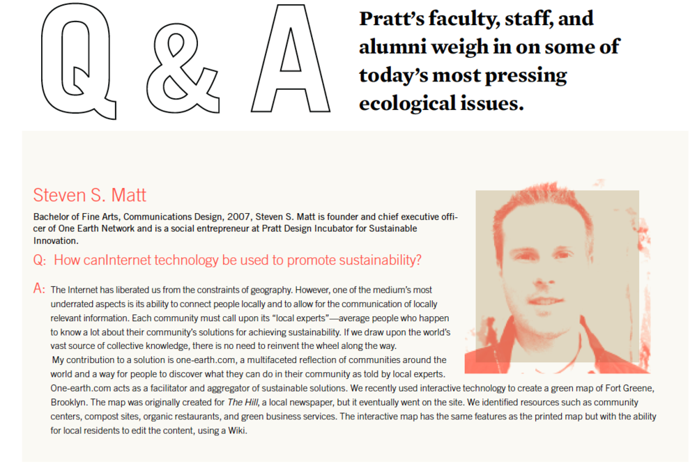 Feature in the Prattfolio, Pratt's quarterly magazine highlighting alumni projects.