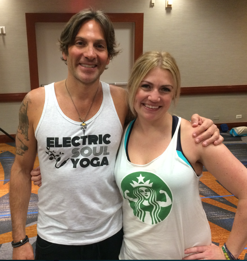 """With Eric Paskel after his """"Love Bullets"""" Yoga workshop/flow at the Yoga Journal NYC Conference."""
