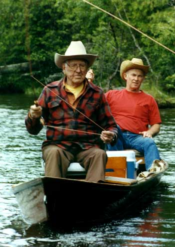 Trout Unlimited founder George Griffiths (left)  with Bob Summers floating Michigan's Au Sable River.
