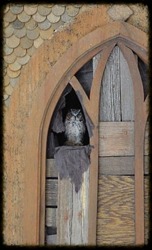 A Great - Horned owl featured in the 'Abandoned Gothic Church', a shadow box designed by Thomas Norpell