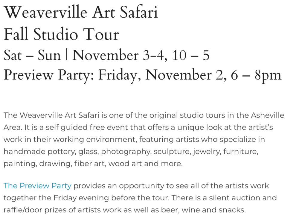 FOR MORE INFORMATIONS VISIT:   https://www.weavervilleartsafari.com/