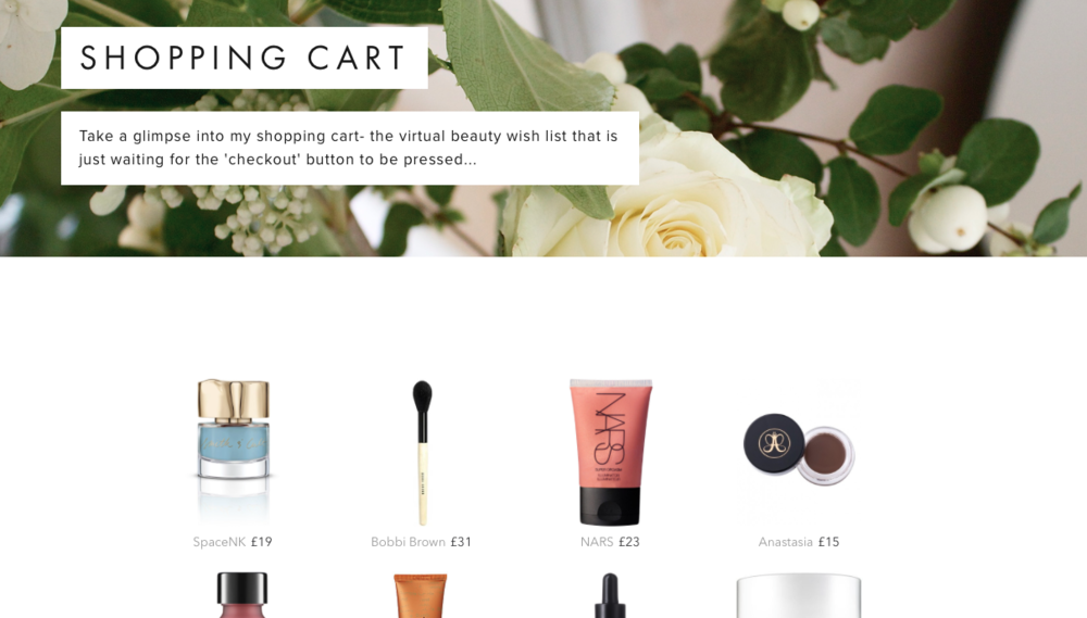 I usually have 3 or 4 different tabs open that are just online shopping carts that I have filled with every beauty item I could possibly want. I let them sit there and over time start to delete items that no longer tickle my fancy.  It's my drawn out way of curbing my spending habits, and I thought I'd replicate those checkout baskets here, just in case anyone was feeling particularly nosey.
