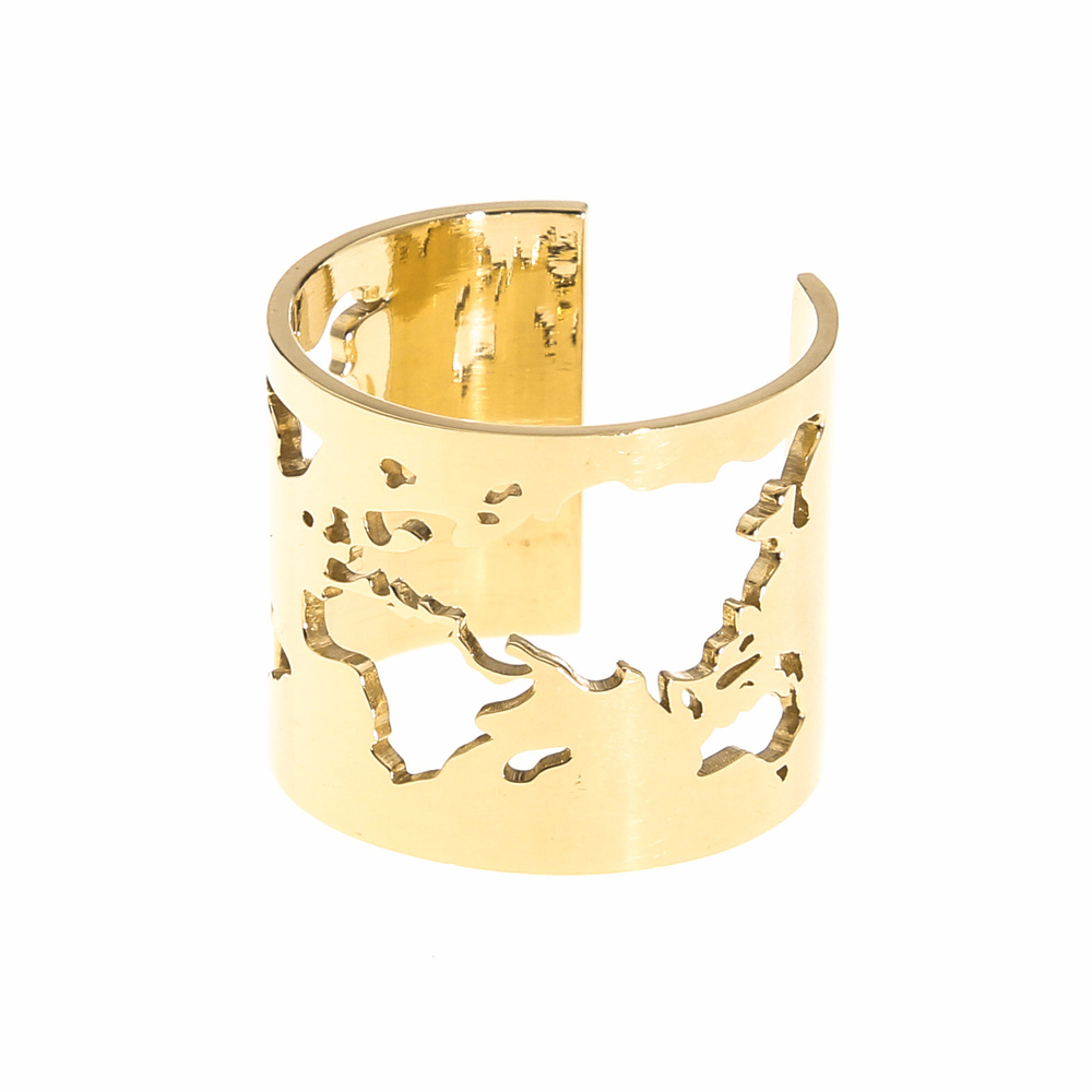 World Map 14k Gold Ring
