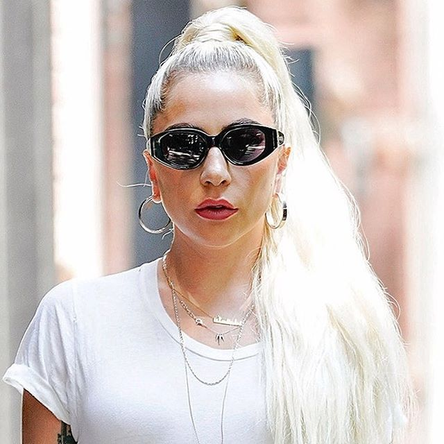 Pinch us. @ladygaga wearing our Be Feisty spike necklace in silver on a casual day out in NYC! #LadyGaga