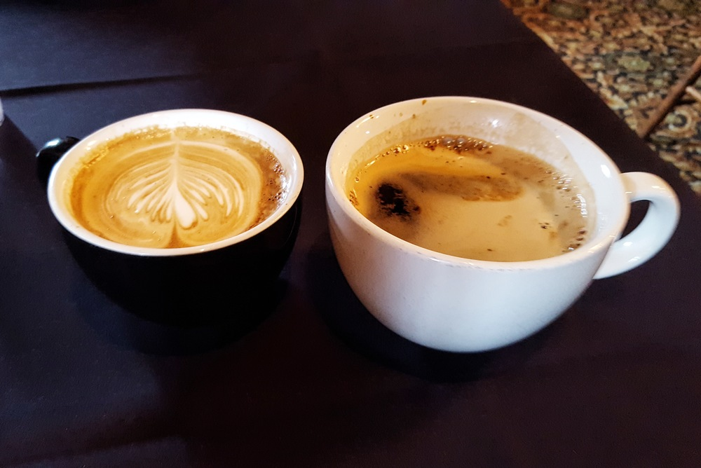 Americano and Caramel Latte at The Tomato Pie Cafe
