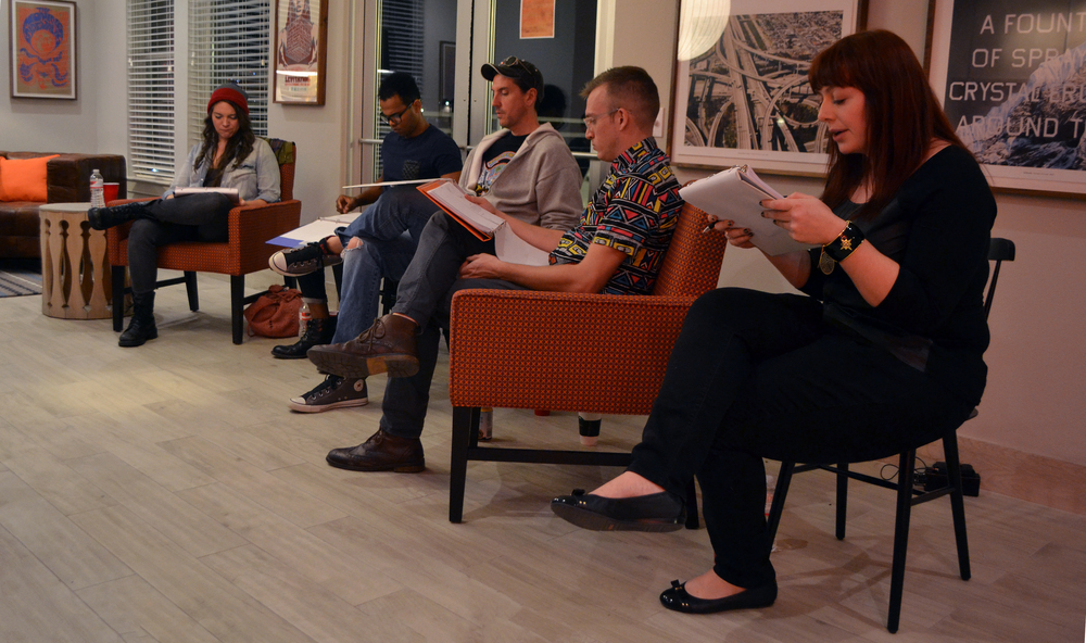 Amber Quick, Delanté G. Keys, Miles Chick, Nicholas Kier, and Kayleigh Axtell reading  The Flick  by Annie Baker.