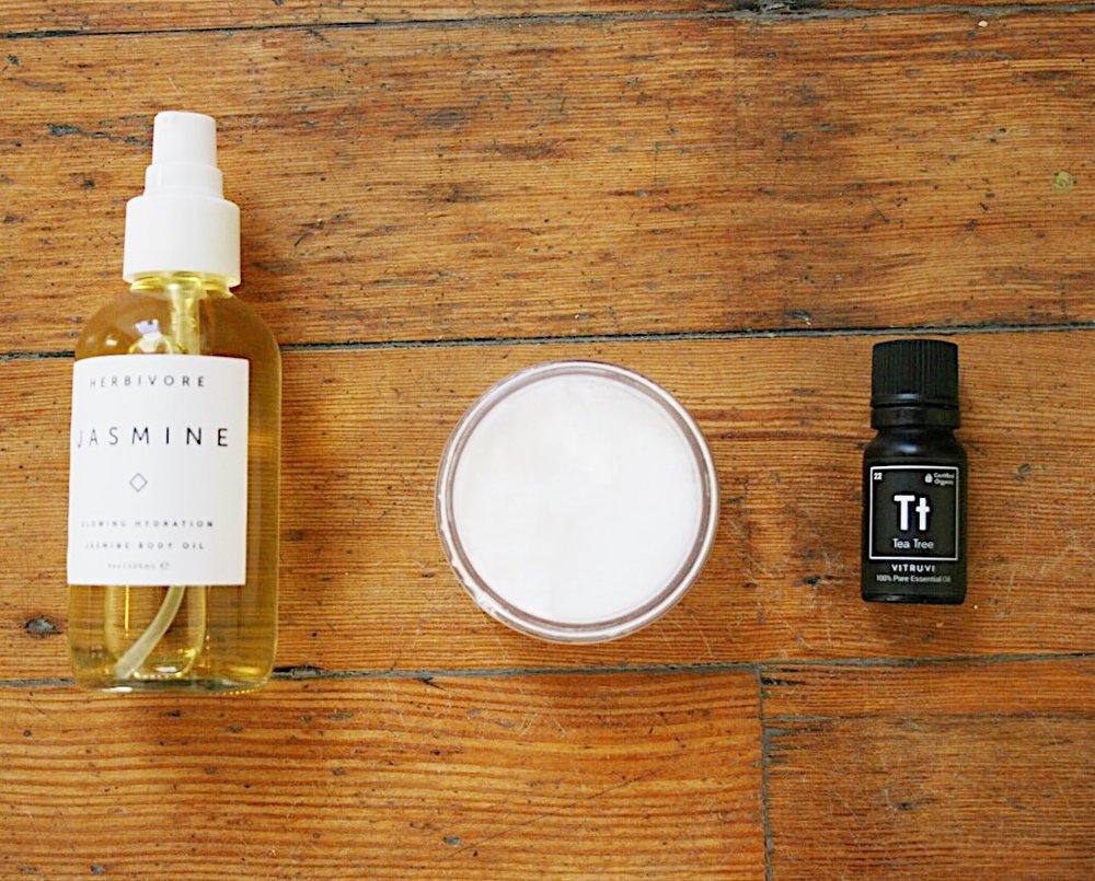 oils of choice + raw sugar + tea tree essential oil