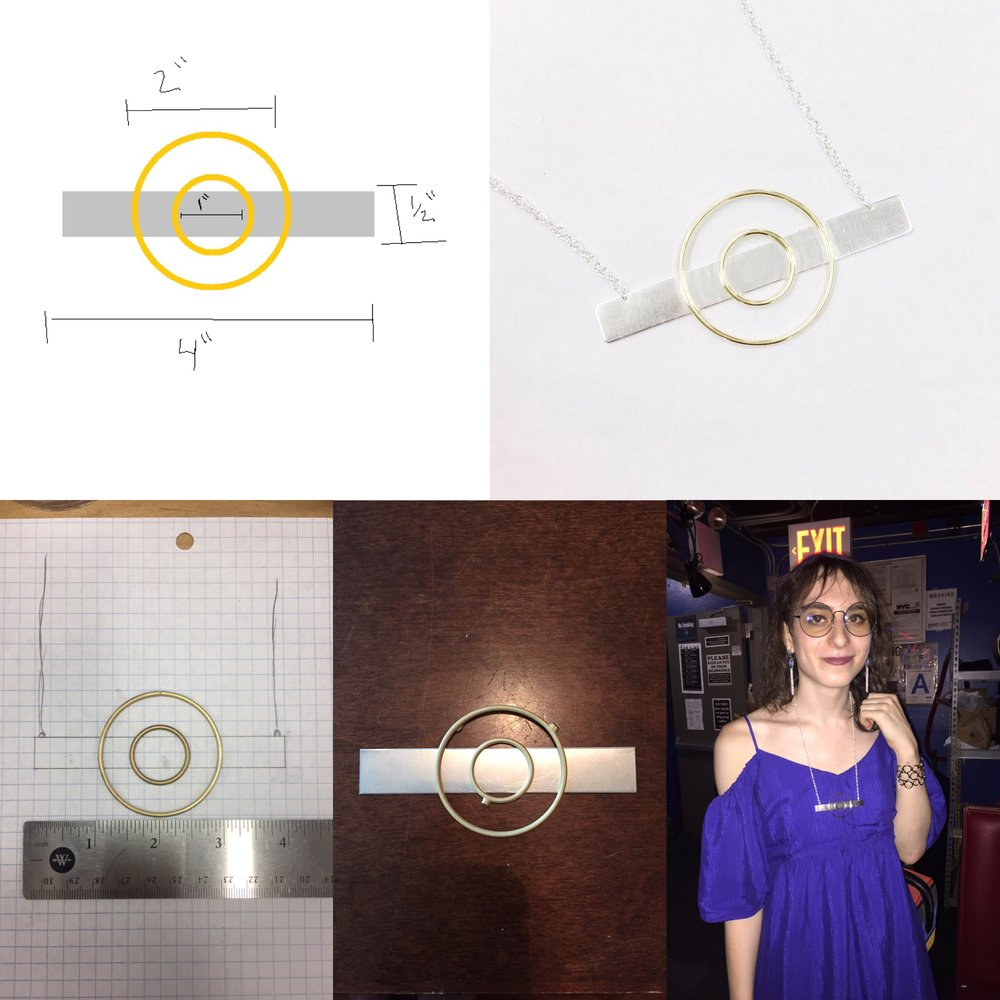 From top left to bottom right: concept, finished piece, constructed brass rings over a sketch of the silver backing, 18k gold castings over the silver backing before cutting and refining, Phira wearing the finished piece.