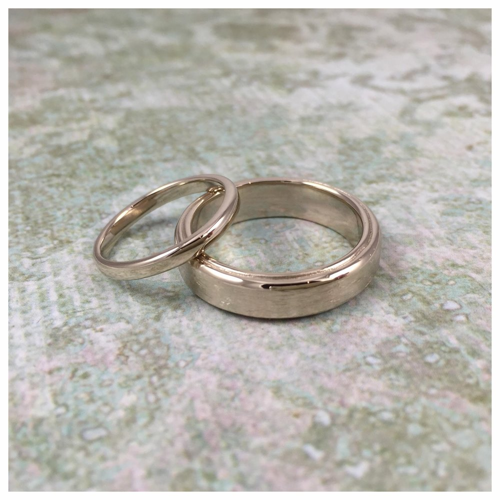 18k white gold his and hers custom wedding bands (2015)