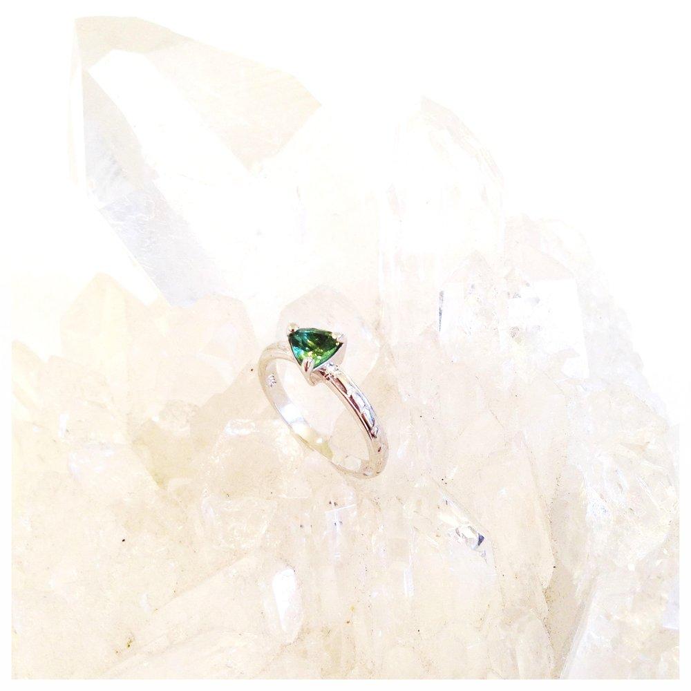Tourmaline and 14k white gold custom engagement ring (2015)