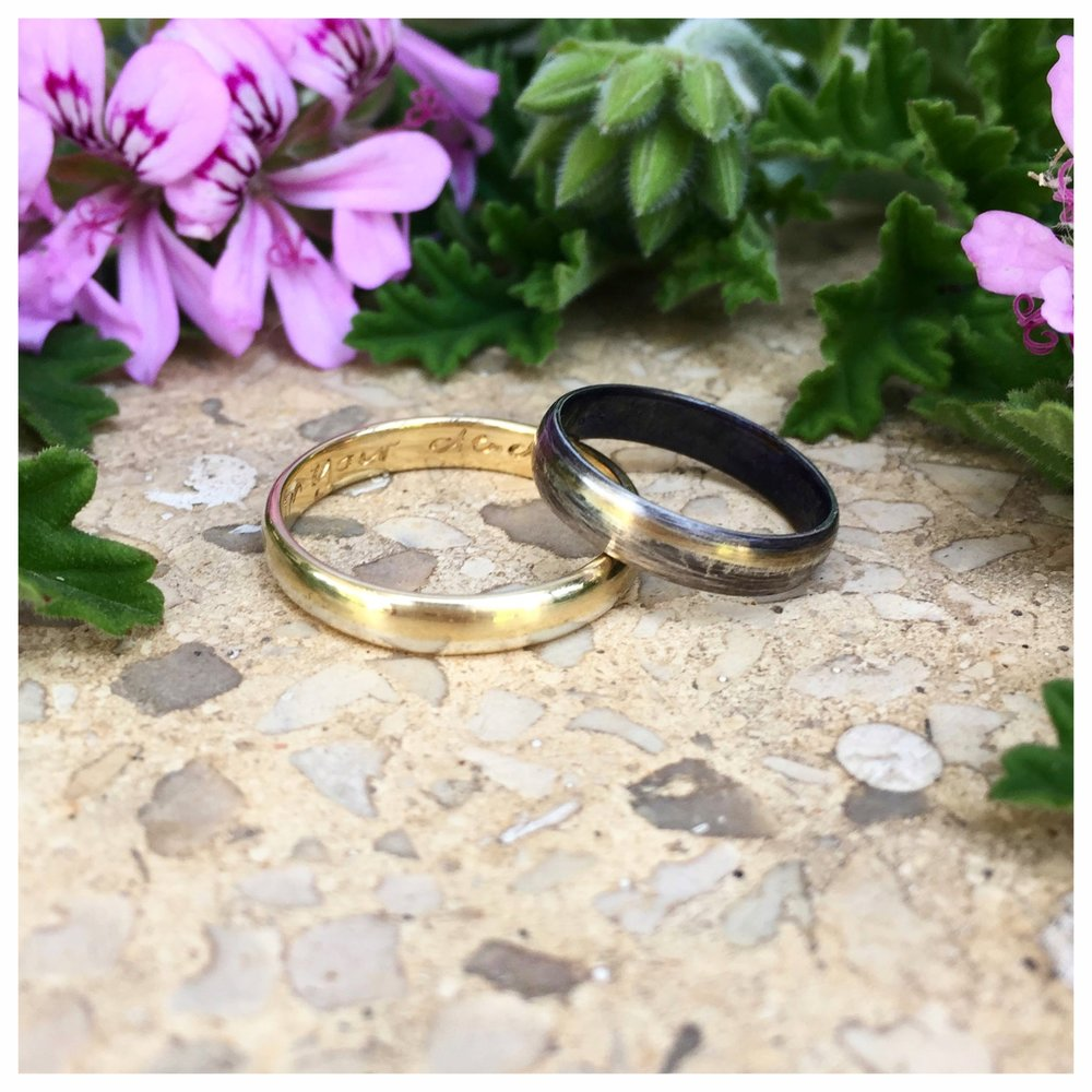Engagement/wedding bands. Left: 18k yellow gold with silver inlay. Right: sterling silver with 18k yellow gold inlay. (2018)