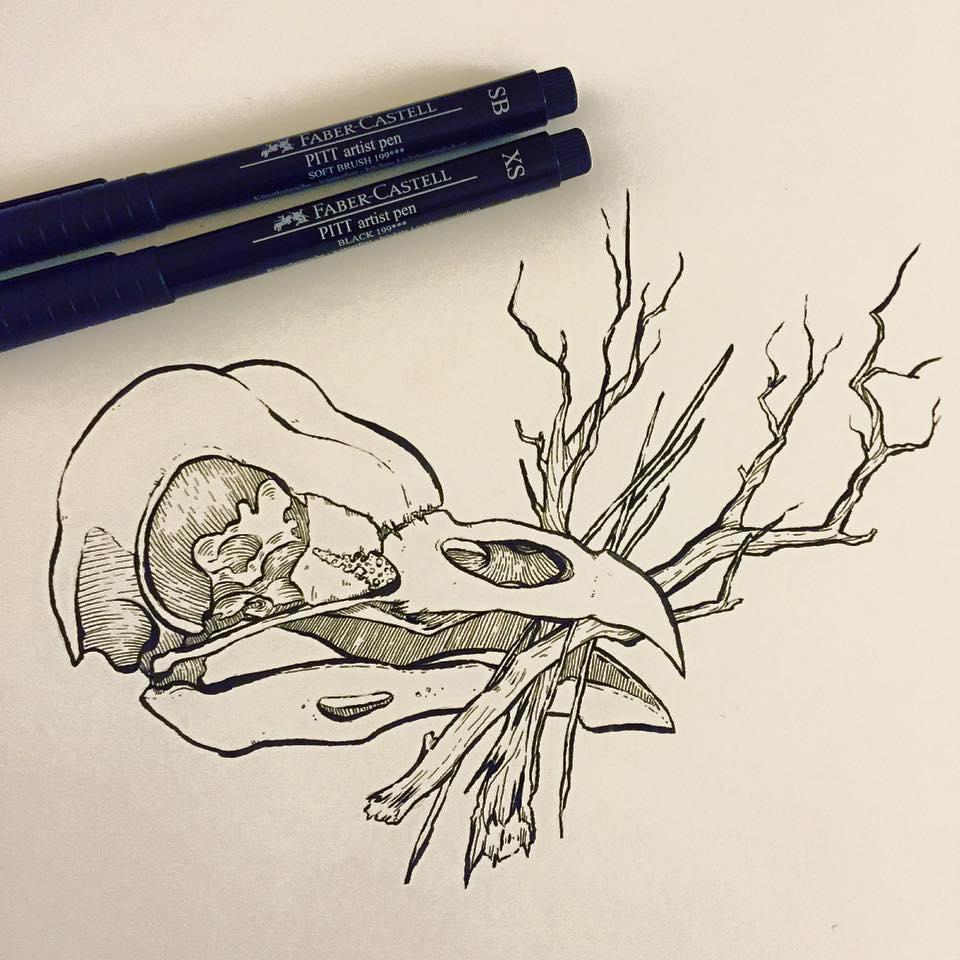 """Owl skull """"nesting"""""""