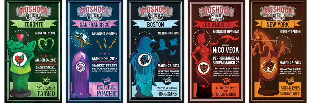 BioShock Infinite: Midnight Launch Posters   Posters created as an exclusive midnight-release giveaway, each designed for the individual city. Created in Adobe Illustrator and Photoshop.