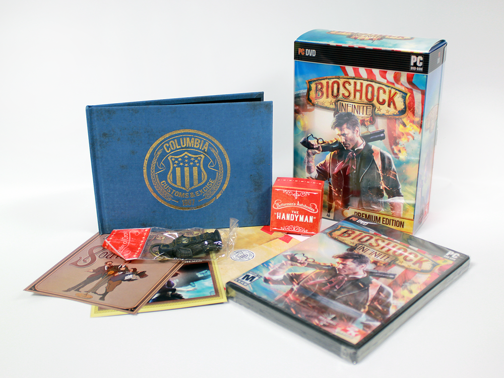 BioShock Infinite Premium Edition Packaging   Concept and creation of exterior box packaging, individual asset packaging and paper inserts for the middle-tier collector's edition in Adobe Photoshop and Illustrator.
